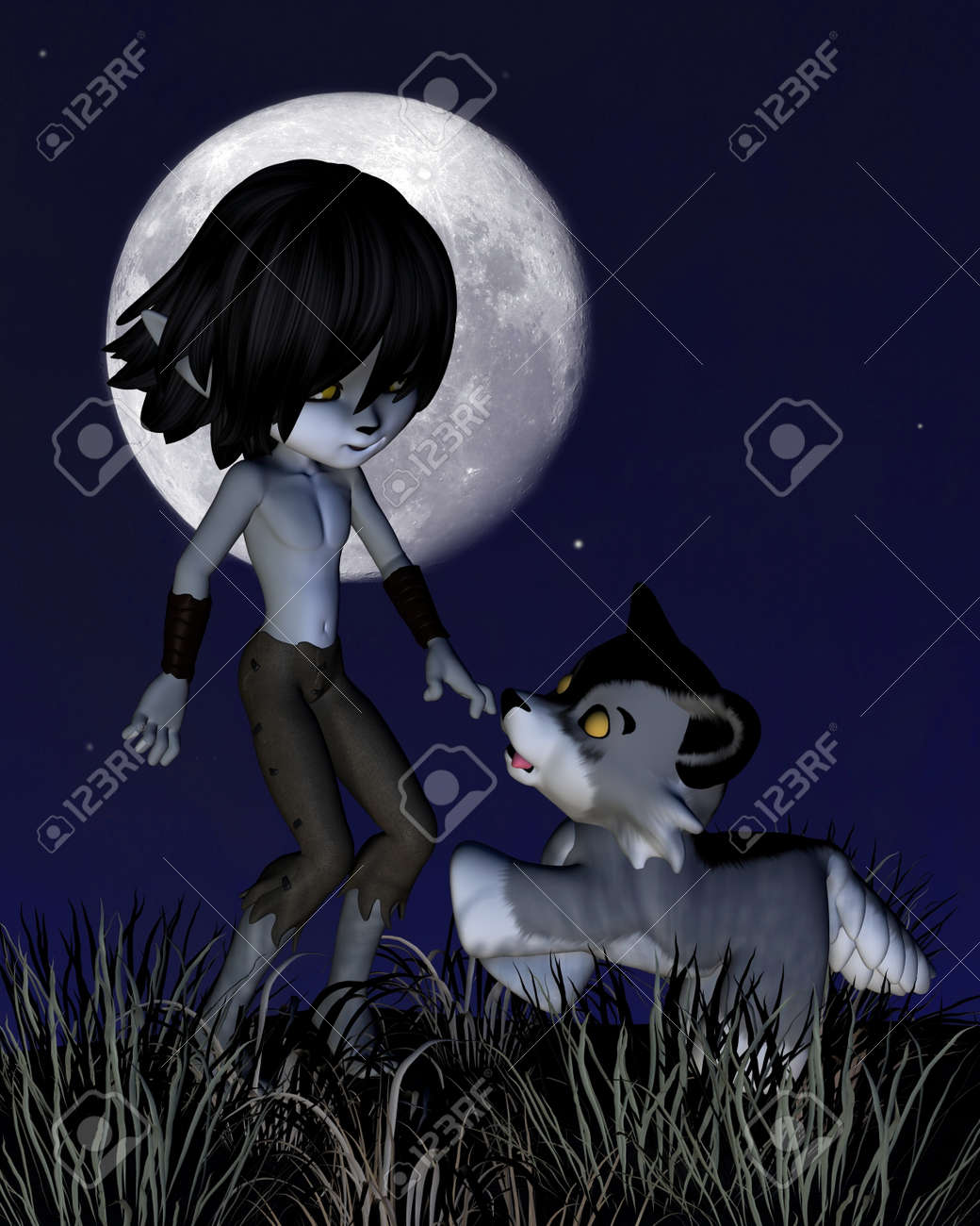 Cute toon wolf boy and his wolf standing in front of a full moon, 3d digitally rendered illustration Stock Photo - 17358016