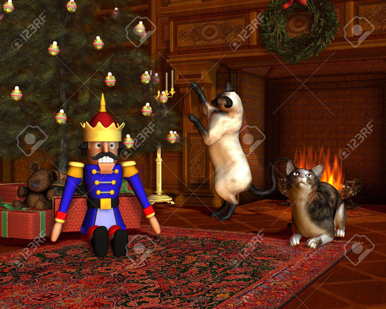 Two cats in front of the fire with festive tree and presents on Christmas Eve, 3d digitally rendered illustration Stock Illustration - 17478505