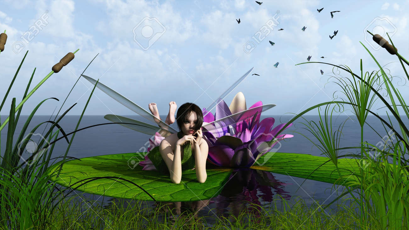 Illustration Of A Pink Waterlily Fairy Lying On A Lily Pad At ...