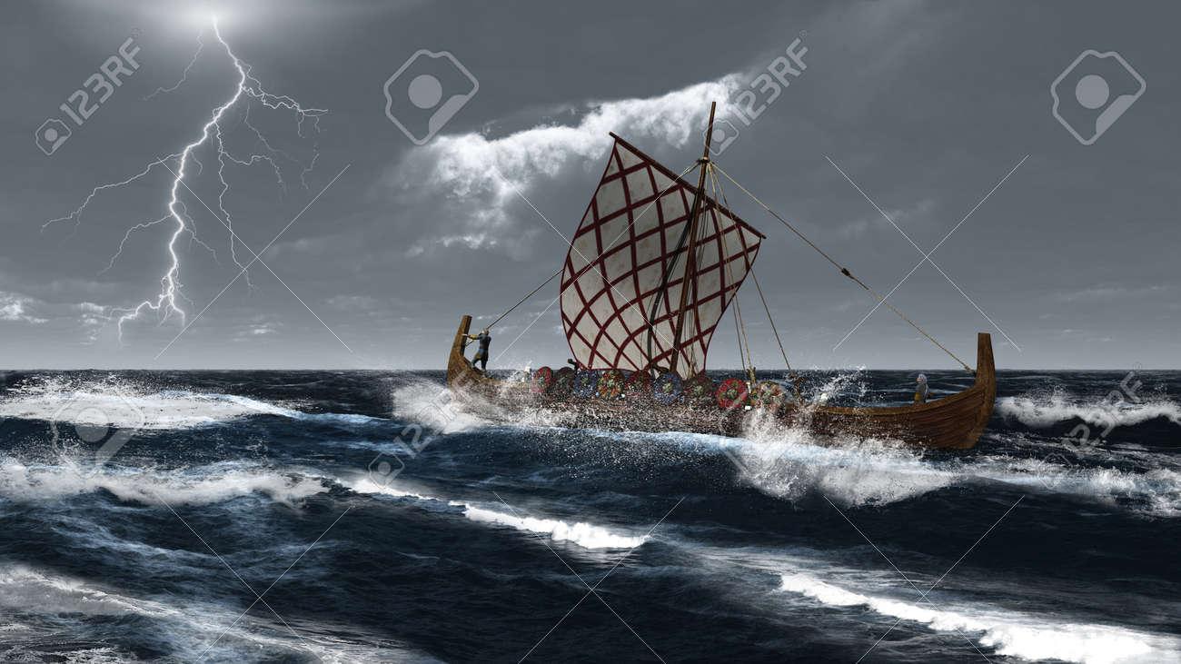 viking longship in a stormy atlantic sea 3d digitally rendered