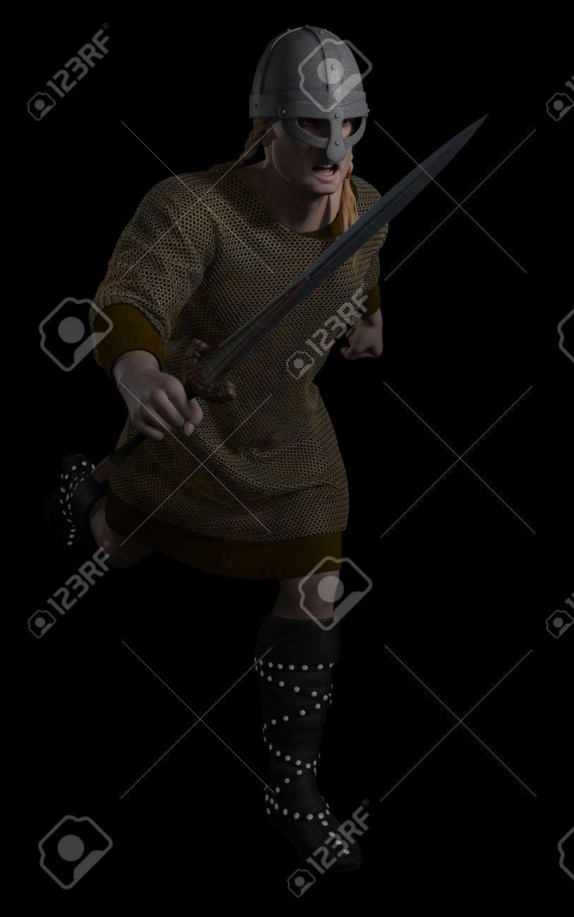 Illustration of a viking warrior running with sword on a black illustration of a viking warrior running with sword on a black background 3d digitally rendered voltagebd Images