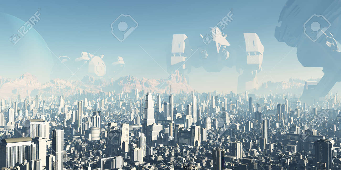 Future City - Veterans of Forgotten Wars  Giant derelict war machines overshadowing a futuristic sci-fi city, 3d digitally rendered ilustration Stock Photo - 18716665