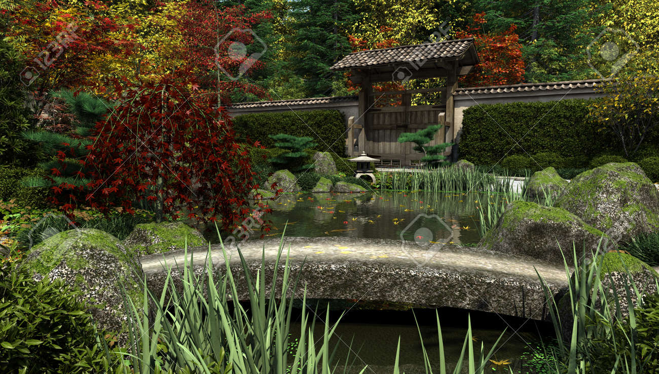 Japanese Garden Stone Bridge japanese garden and koi pond with stone bridge in autumn fall
