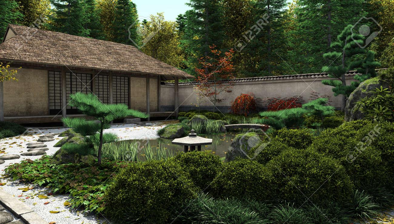 Immagini Stock Giapponese Casa Del Te Tradizionale E Giardino Con