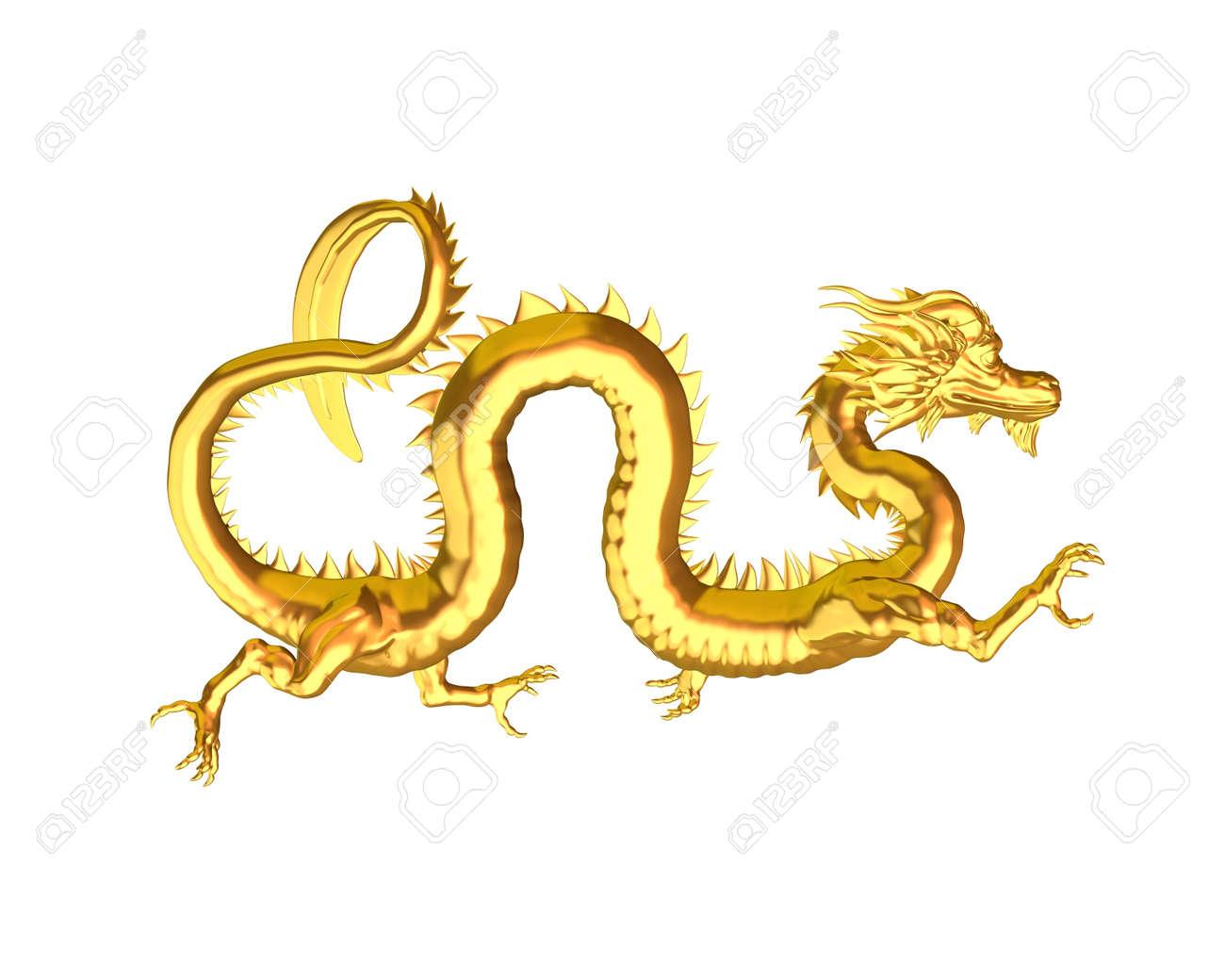 Ilustración De Una Estatua China De Oro Del Dragón Símbolo De La