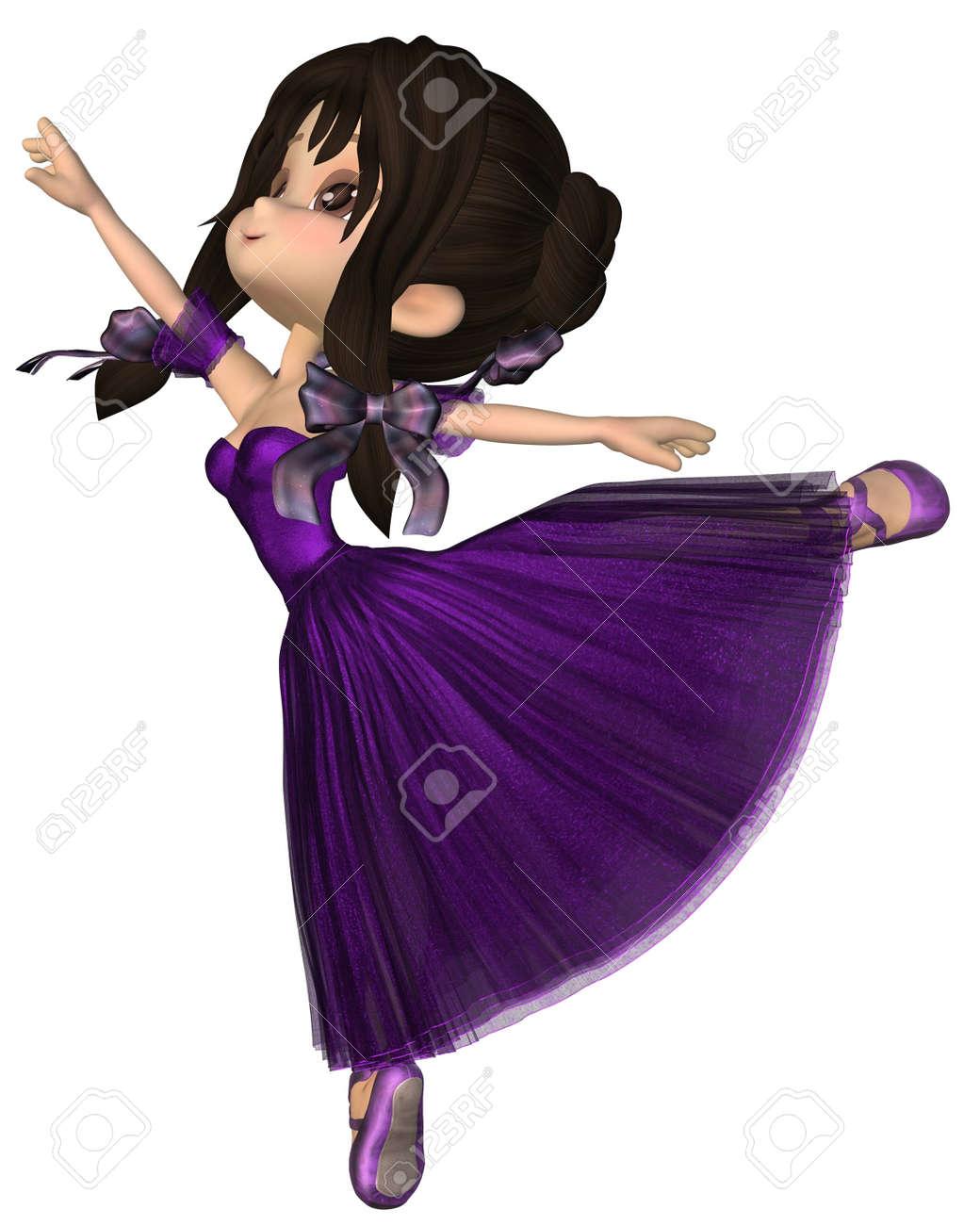 Púrpura Ilustración Un Estilo Una Tutú Toon Ballet Con Rindió Falda Vistiendo Del Archivo Digital 3d De Foto La Linda Larga Bailarina Romántico pxfqWC8wR6