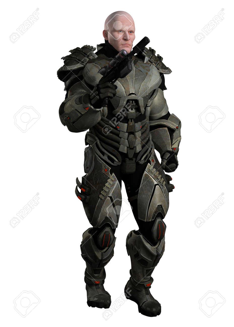 Armure Futuriste illustration d'un grand marin musclé en armure futuriste de corps