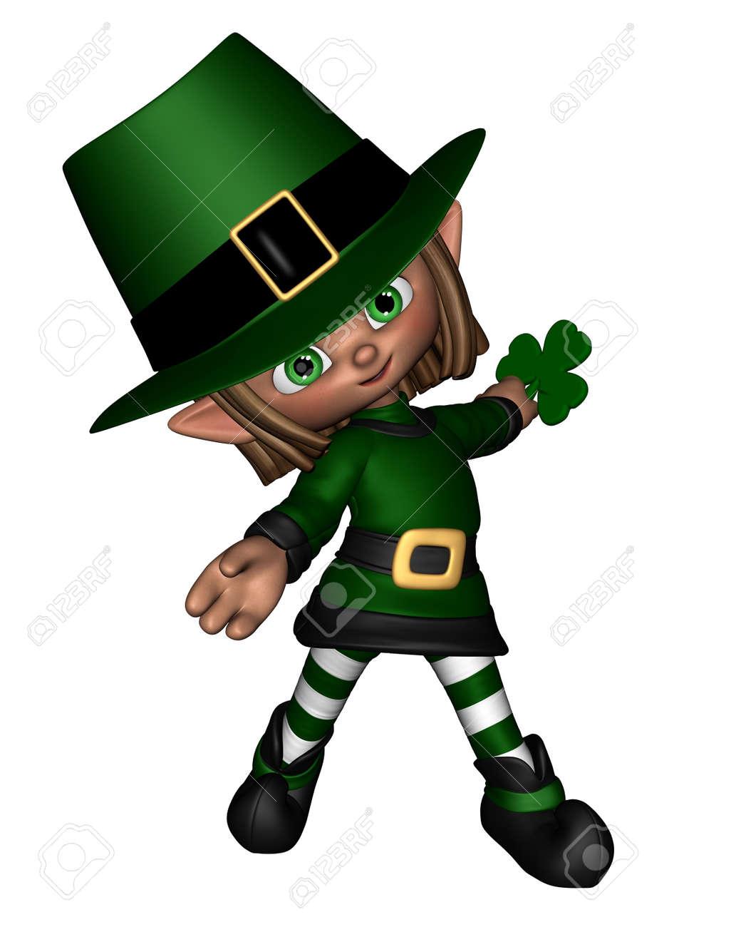 Cute toon Irish leprechaun holding a shamrock leaf for St Patrick s Day 3d  sc 1 st  123RF.com & Cute Toon Irish Leprechaun Holding A Shamrock Leaf For St Patrick ...