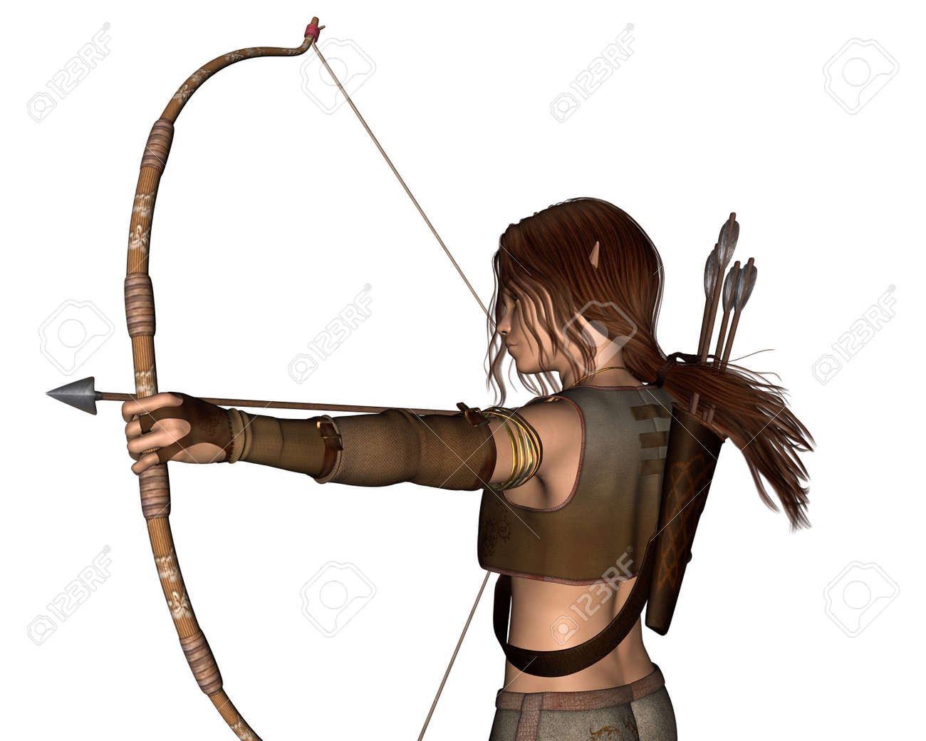 Fantasy Portrait Illustration Of A Young Male Elf Archer Hunting Stock Photo Picture And Royalty Free Image Image 31354709