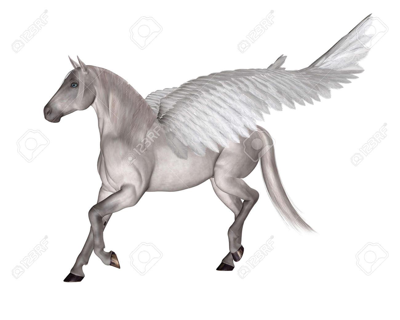 fantasy illustration of pegasus the flying horse of greek