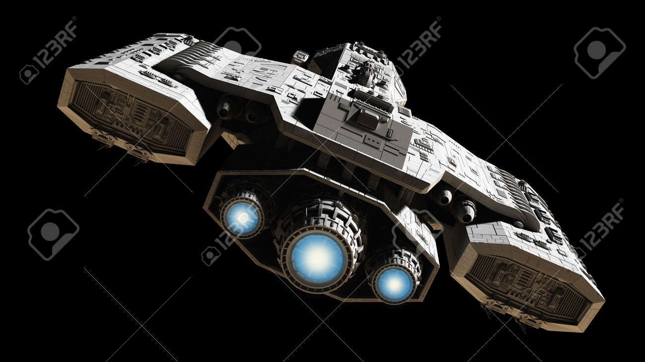 Science Fiction Illustration Of A Spaceship Isolated On Black Background With Blue Engine Glow
