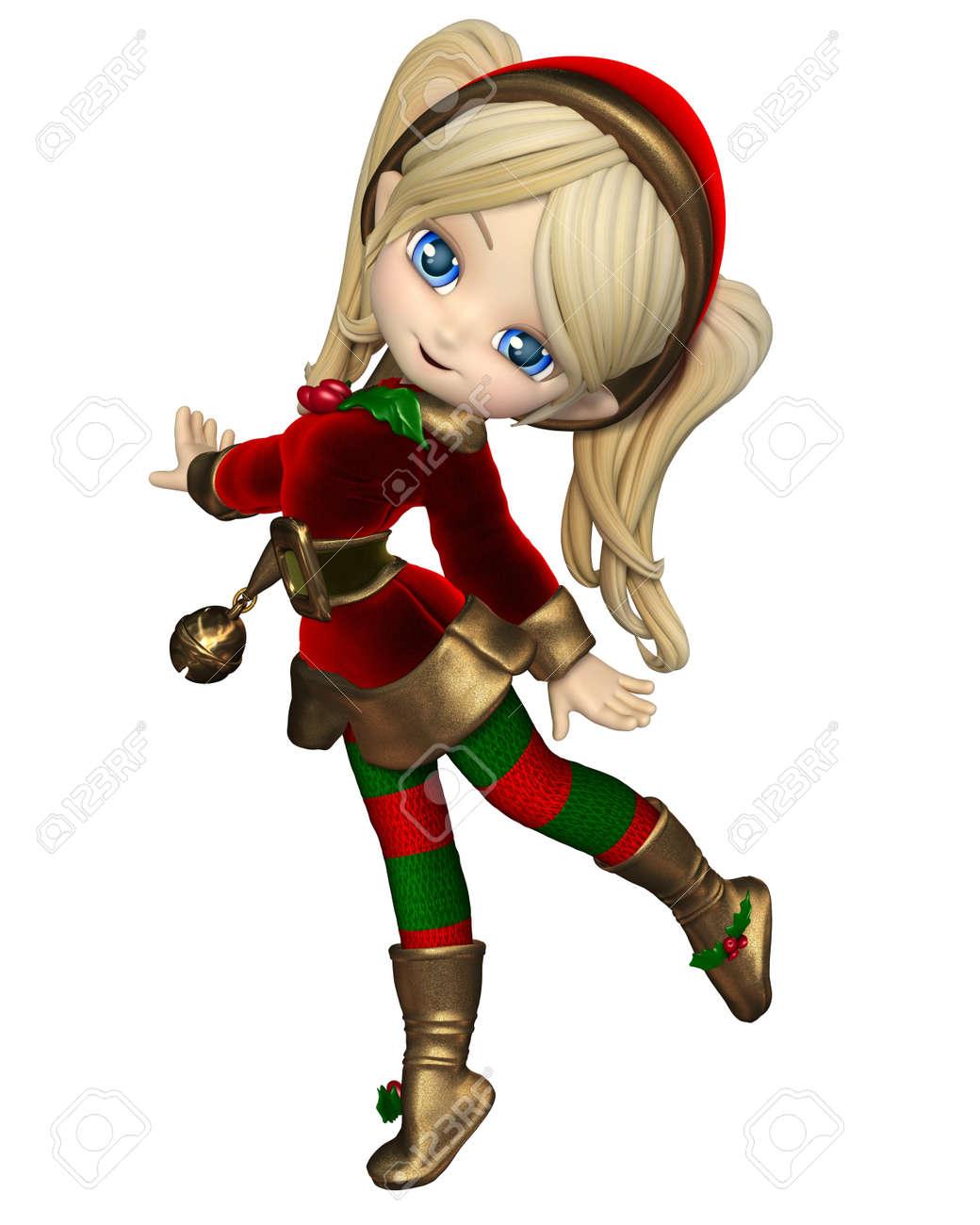 Toon Mignon Fille Lutin De Noel Dans Un Costume Rouge Et Vert Et