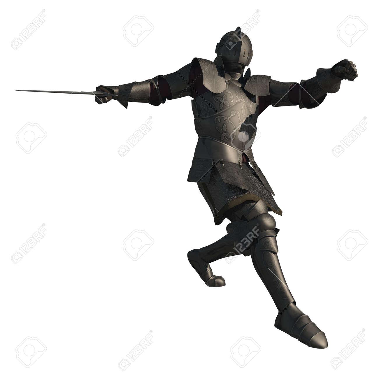 格闘で装飾された鎧と後期中世の騎士のイラスト ポーズ3 D デジタル