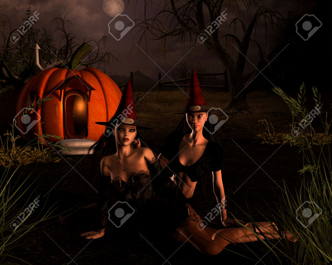 fantasy illustration of two halloween witches sitting outside their pumpkin house on a dark night