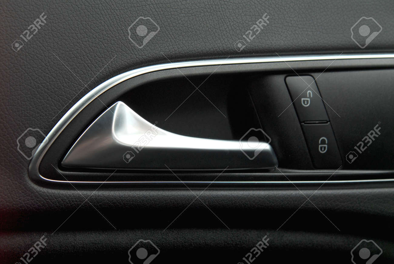 Car door handles and central locking closeup stock photo 89309694