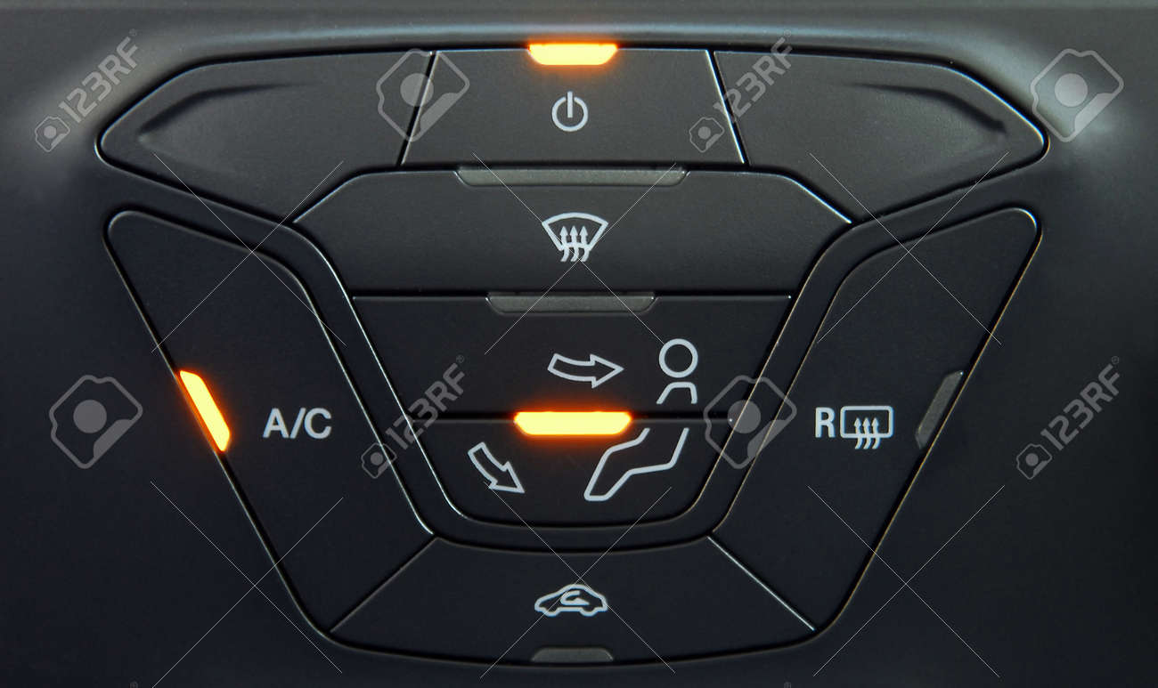 manual switches the air conditioning on the dashboard of the car Stock  Photo - 97397111