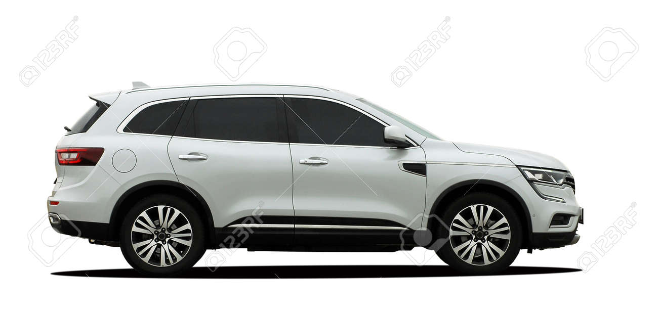White SUV on a white background, side view - 166765686