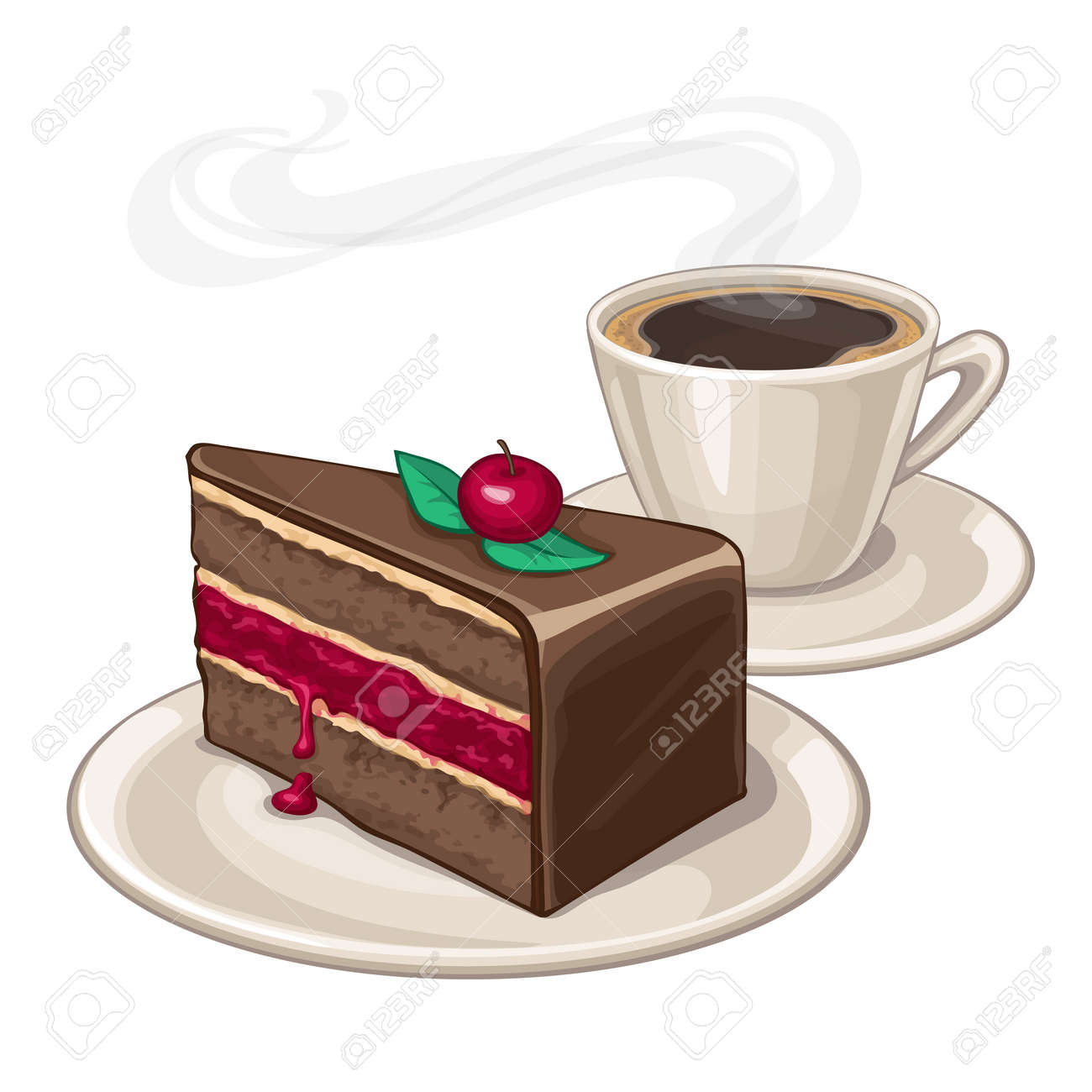 Cake on a plate and cup of coffee. Isolated on white background. - 55032958