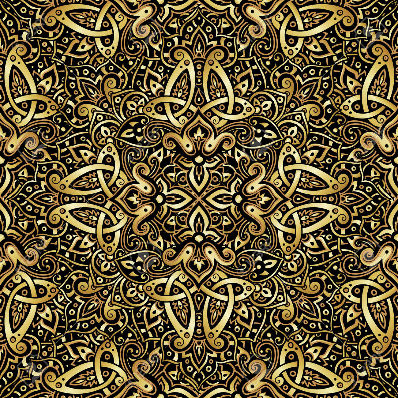 Ethnic seamless pattern in gold and black colors. Abstract background. Oriental decorative elements. Boho style vector illustration. - 64259462