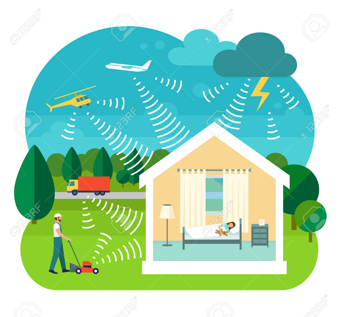 Flat style vector illustration of soundproofing house. Lawnmower, truck, helicopter, airplane and thunderstorms make noise. Girl sleeps in silence inside house. - 64260239