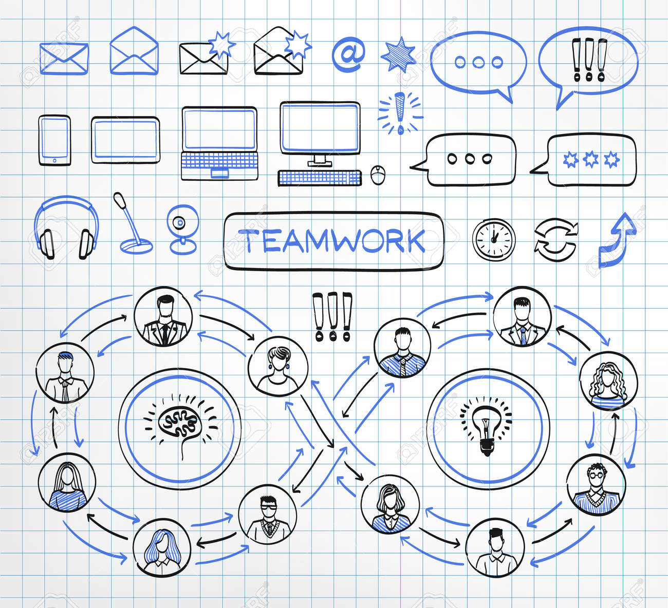 Business doodle concept on paper background. Vector hand drawn sketch icons set in black and blue colors. Team work. Connecting people. - 64260157