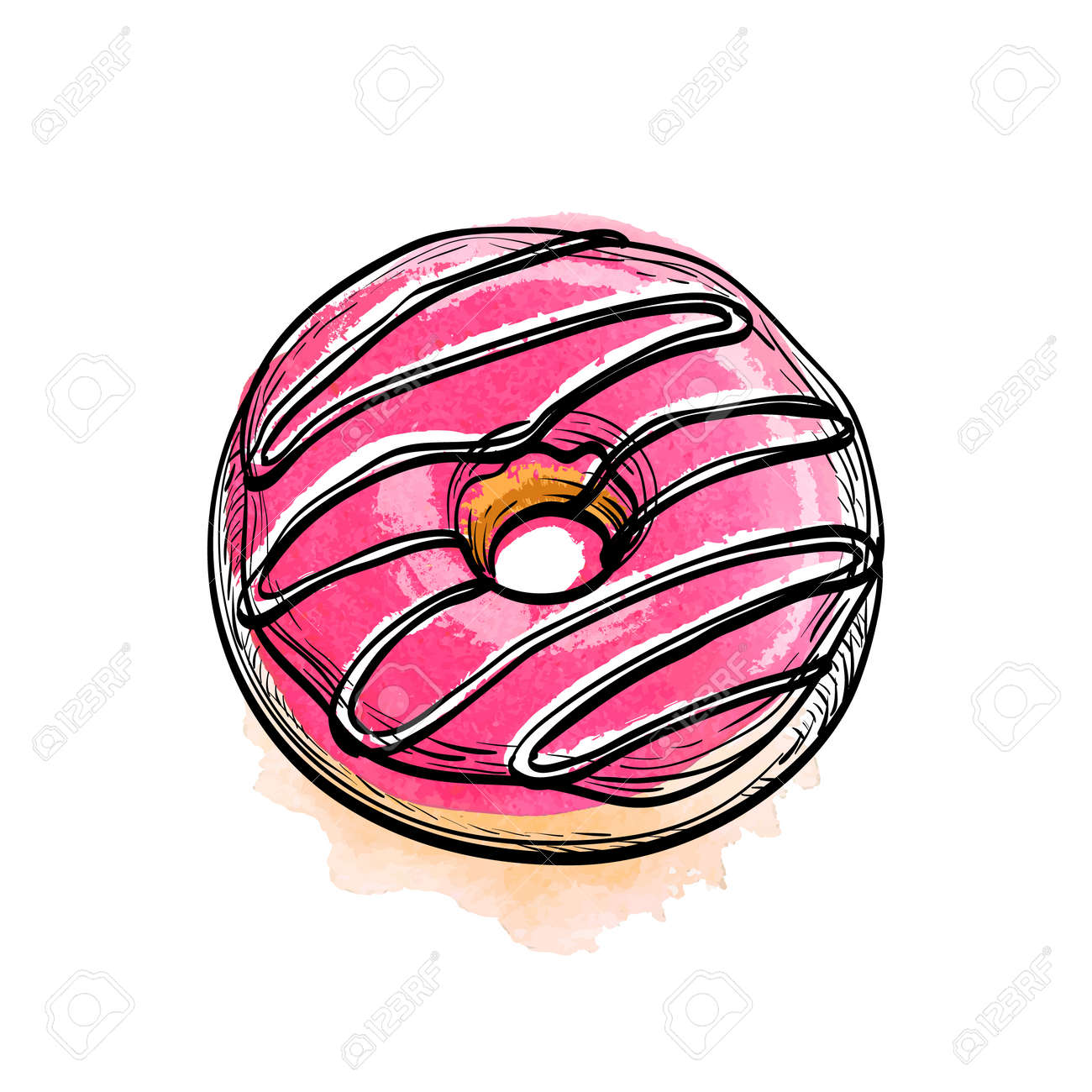 Hand Drawn Vector Illustration Of Donut Watercolor Background
