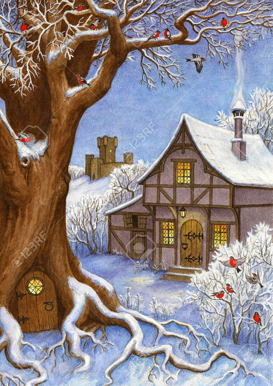 Watercolor illustration. Winter fairytale landscape. Christmas greeting card. New year and Xmas Holidays design. - 65523177