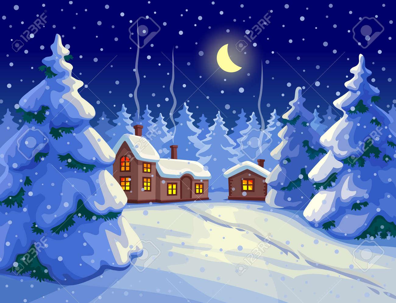 Illustration De La Forêt De Sapin. Paysage De Nuit D'hiver. Carte