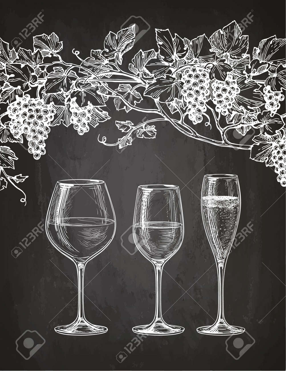 Set of wineglasses and grape vine. Red, white wine and champagne. Hand drawn sketch on chalkboard background. - 82115783