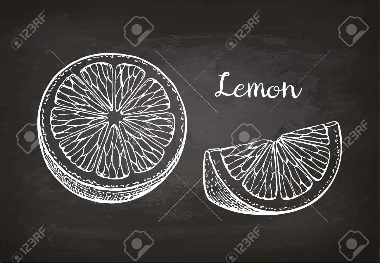 Lemon slices. Chalk sketch on blackboard. Retro style. - 82727442