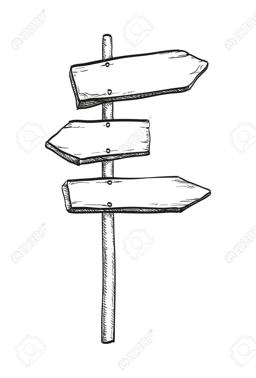 Ink sketch of wooden signpost - 85584732