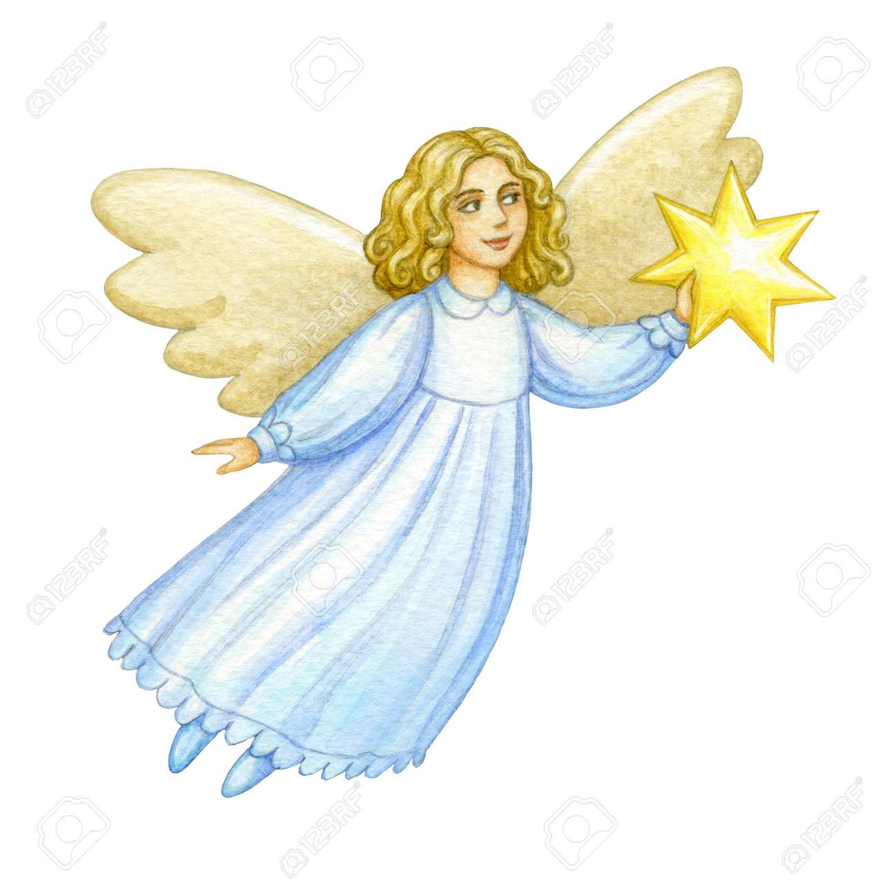 Christmas Angel.Watercolor Christmas Angel