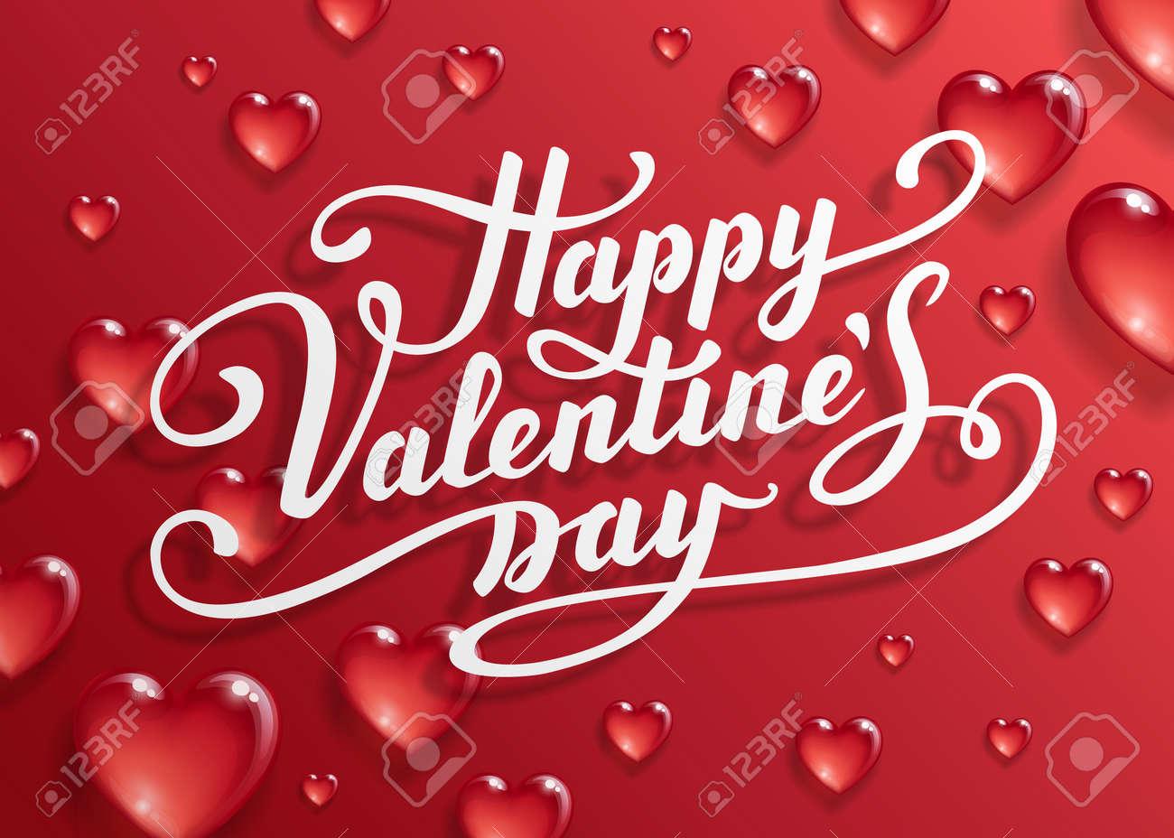 Joyeux Texte De La Saint Valentin Lettrage Calligraphique Modèle De Carte De Voeux Saint Valentin Illustration Vectorielle