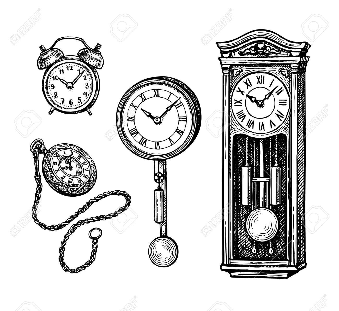 Ink sketch set of vintage clocks - 147458926