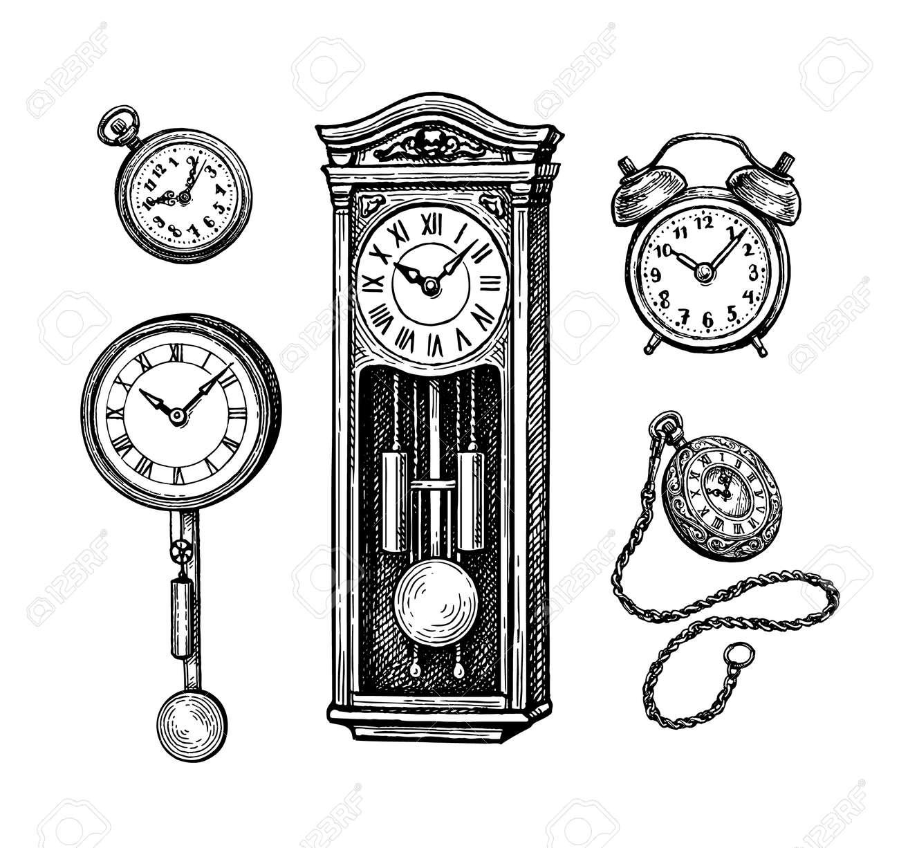 Different types of vintage clocks. - 149044670