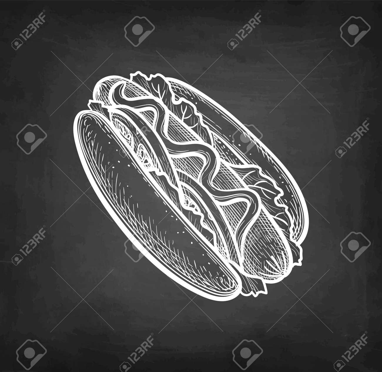 Chalk sketch of hot dog. - 169815930
