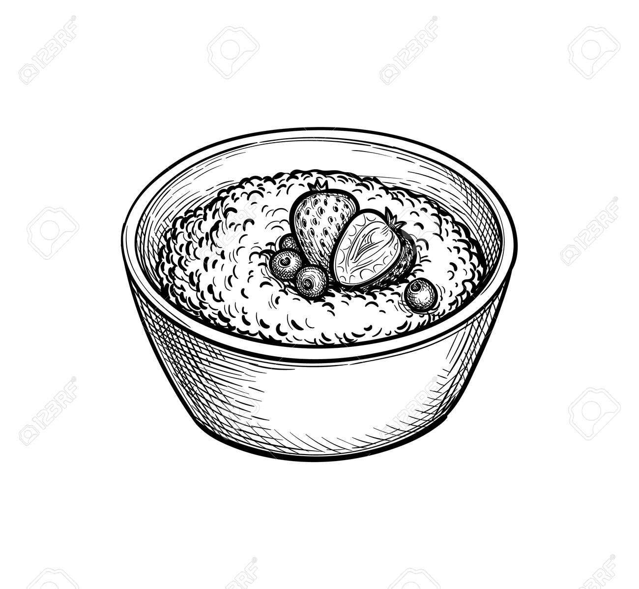 Ink sketch of oatmeal. - 169815932