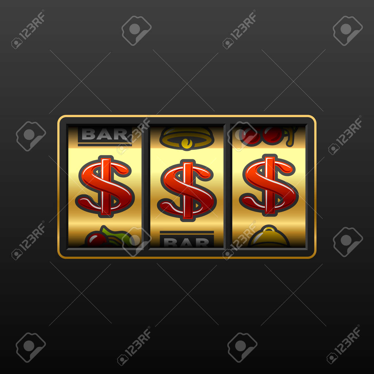 Dollar jackpot - winning in slot machine Stock Vector - 9882290