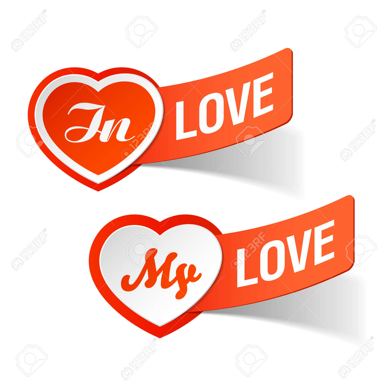 In love, my love labels Stock Vector - 12345616