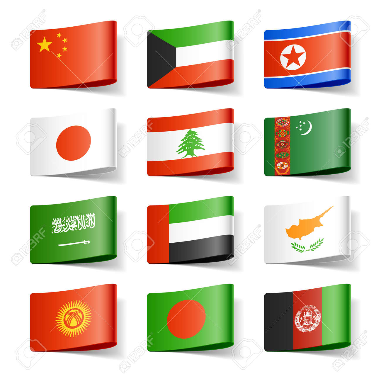 World Flags Asia Royalty Free Cliparts Vectors And Stock Illustration Image 12595527