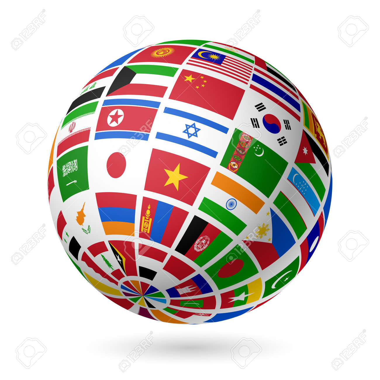Flags globe  Asia Stock Vector - 15017437