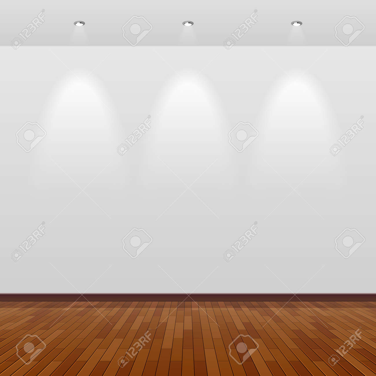 Room with white wall and wooden floor Stock Vector - 15158401