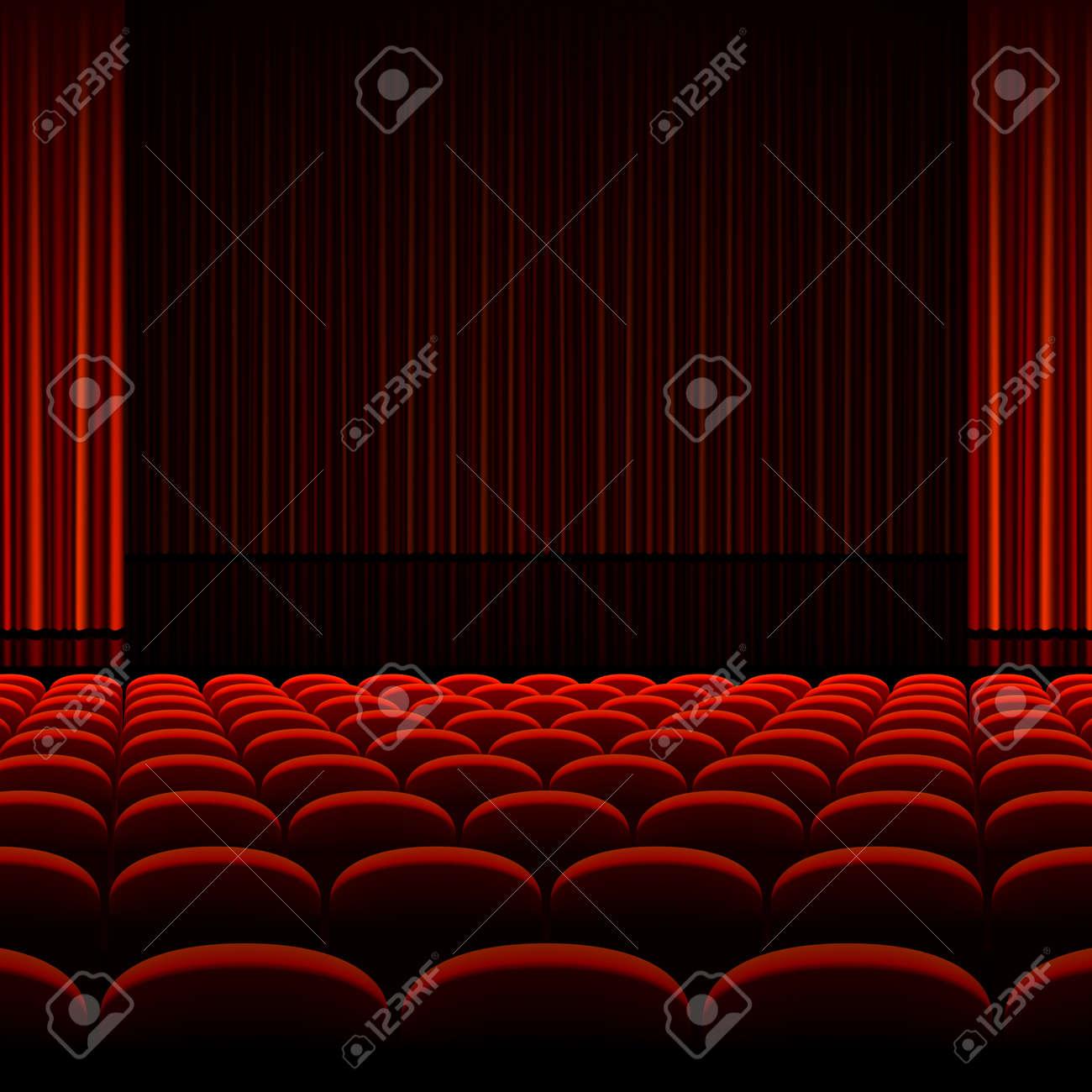 Theater Interieur Mit Roten Vorhängen Und Sitze Lizenzfrei Nutzbare ...