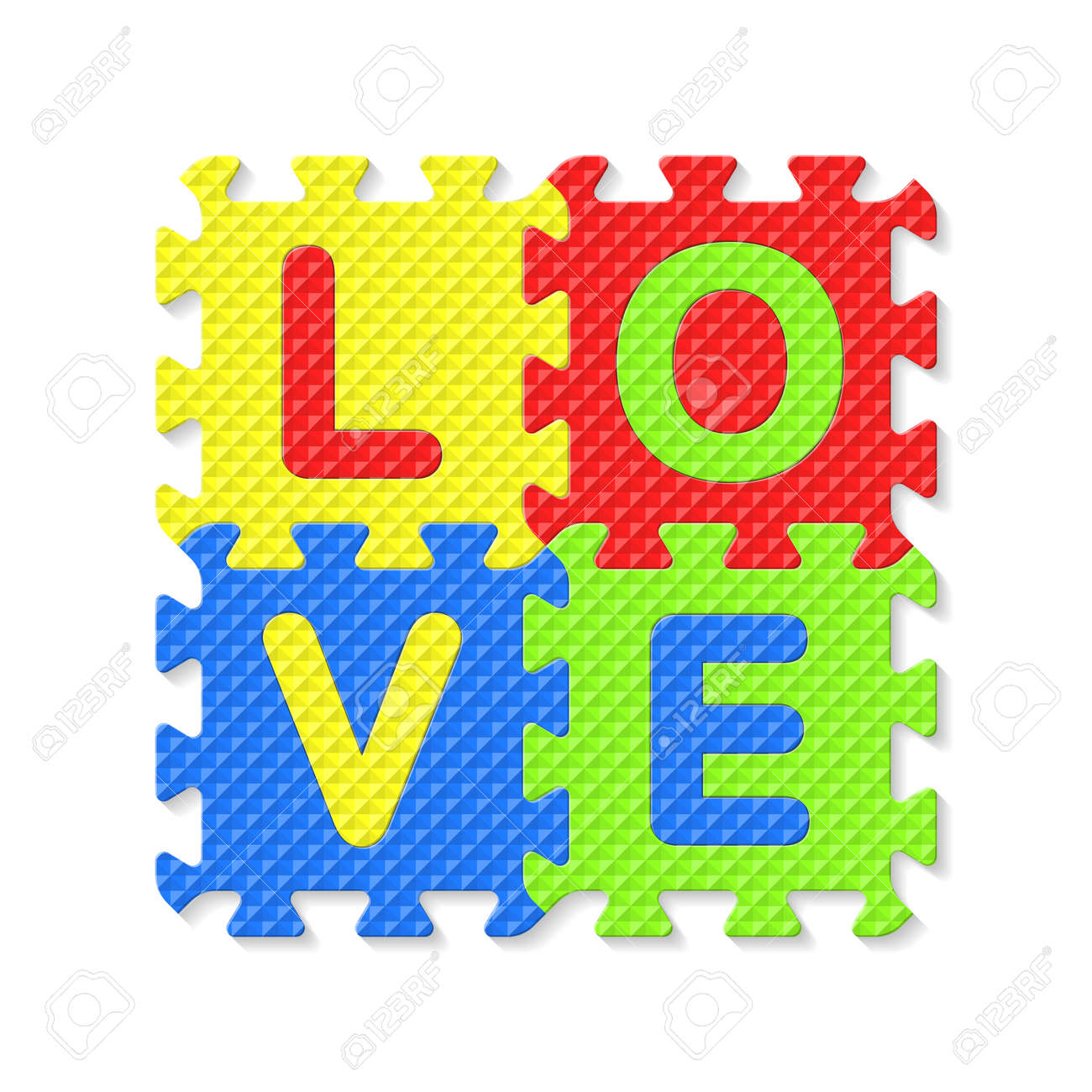 vector word love written with alphabet puzzle letters