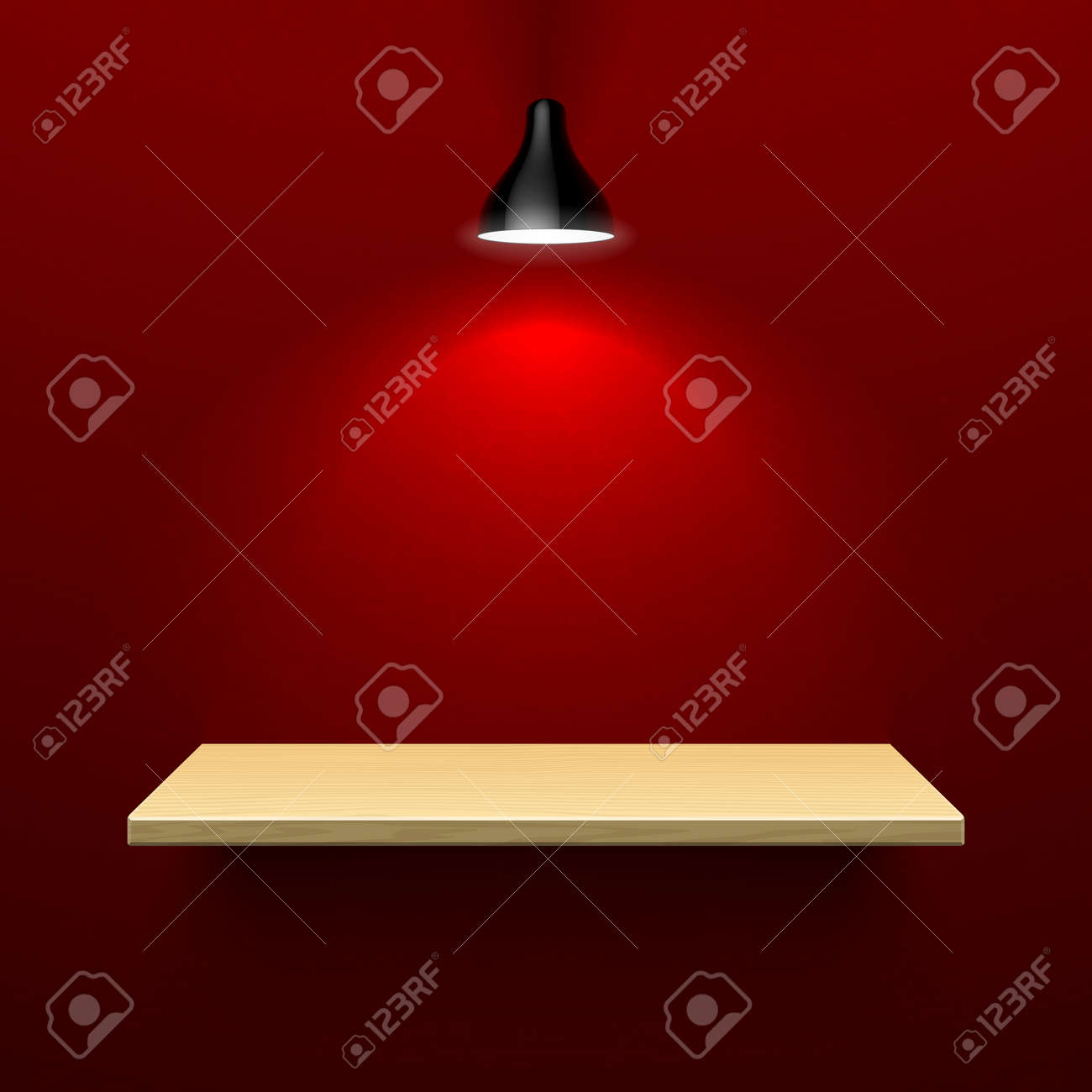 Wooden shelf illuminated by lamp Stock Vector - 23796311