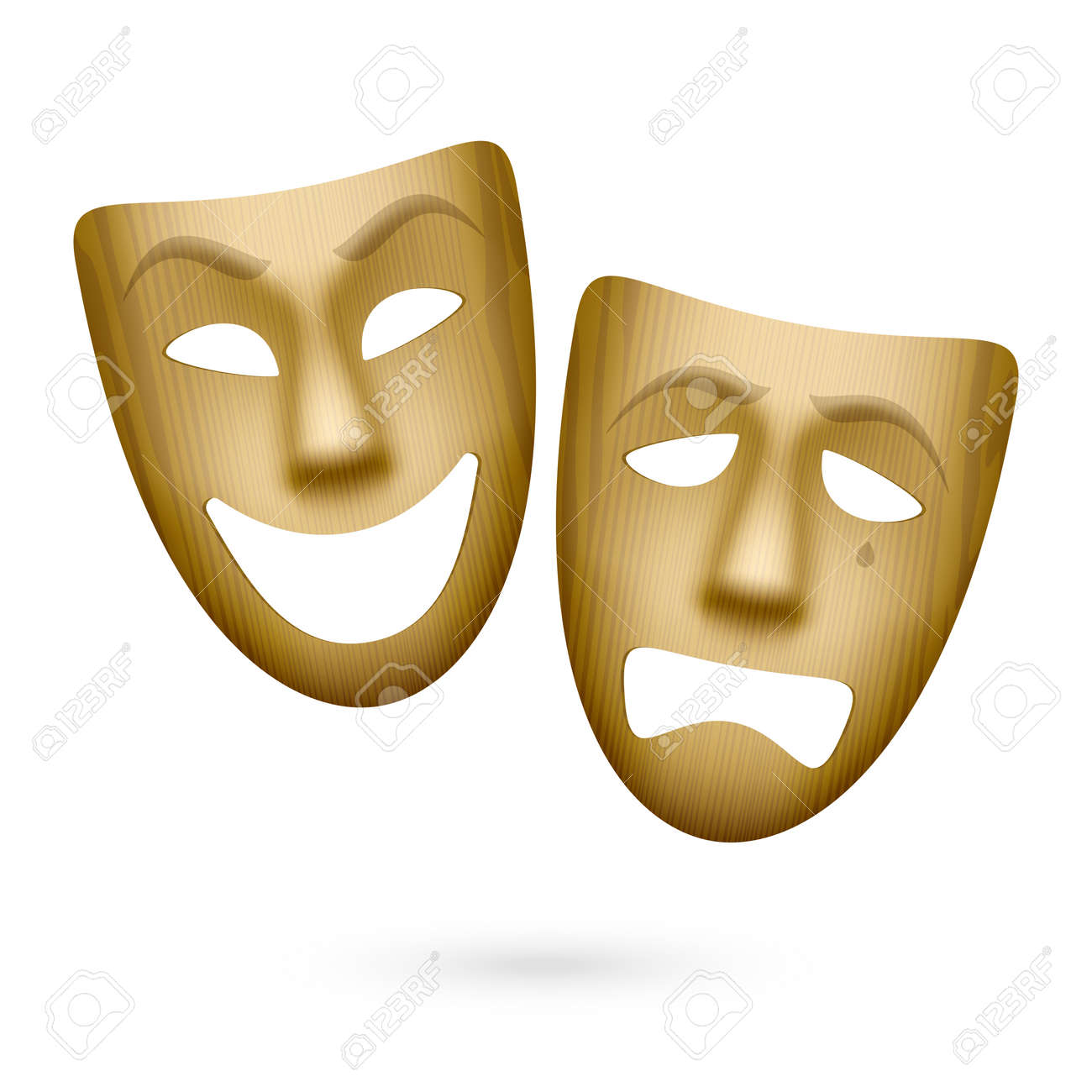 Wooden comedy and tragedy theatrical masks Stock Vector - 24158417