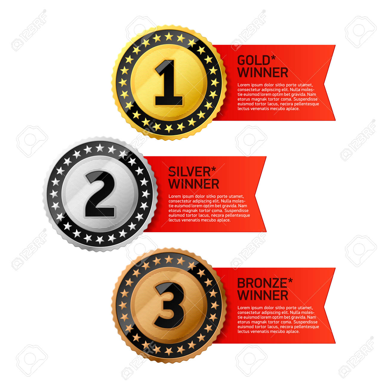 Gold, Silver and Bronze winners medals - 26262472