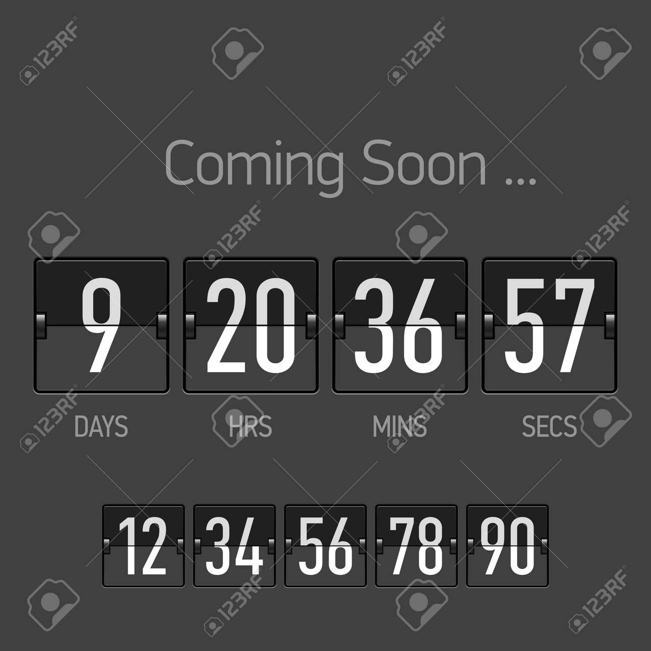 flip coming soon countdown timer template royalty free cliparts