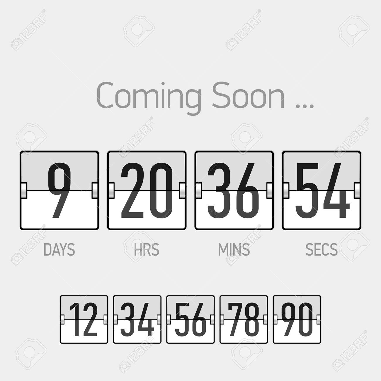 Flip Coming Soon, Countdown Timer Template Royalty Free Cliparts ...