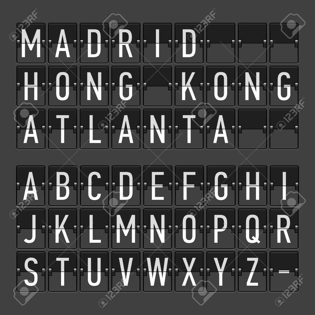 Airport terminal arrival departure timetable, information board, display alphabet - 26262492